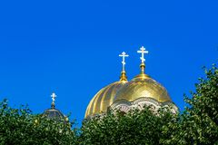 Golden Yellow Domes of Riga Nativity of Christ cathedral Stock Image