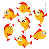 Golden, yellow fish characters with human face showing different emotions. Cute, funny golden, yellow fish characters with human face showing different emotions Stock Images