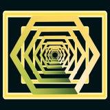 Golden, yellow with greenish retreating into infinity, stock illustration