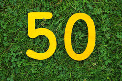 50 golden yellow number on grass Royalty Free Stock Image