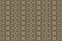 Golden yellow pattern on dark background. Graphic pattern with curls, fine lines, abstract colors in traditional tile style. Seamless pattern Stock Photos