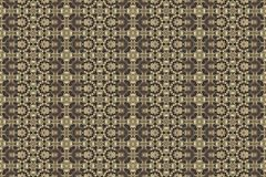 Golden yellow pattern on dark background. Graphic pattern with curls, fine lines, abstract colors in traditional tile style. Seamless pattern Royalty Free Stock Image