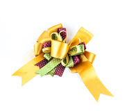 Golden or yellow ribbon bow Royalty Free Stock Photo