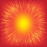 Golden, yellow, shiny radial rays speed lines on a bright red background, like sun. Golden, yellow, shiny radial rays speed lines on a bright red background Royalty Free Stock Photography