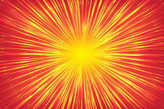 Golden, yellow, shiny radial rays speed lines on a bright red background, like a sun Royalty Free Stock Photography