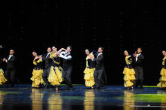 Golden yellow skirt-The French Cancan-the Austria's world Dance Stock Photography