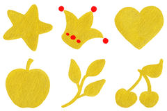 Golden yellow star crown heart apple branch cherry symbol set Royalty Free Stock Photography