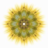 Golden yellow star ornamental tile Stock Photography
