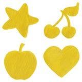Golden yellow velvet star cherry apple heart symbol set  Stock Images