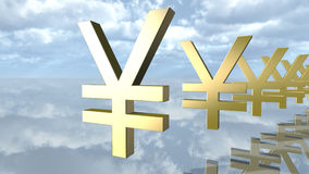 Golden yen money signs in a row. 3D rendering stock illustration