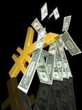 Golden yen strikes dollar tower Stock Photo