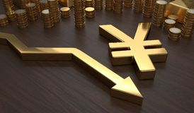 Golden Yen symbol and arrow down. 3D rendered illustration Stock Image