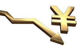 Golden Yen symbol and arrow down. Isolated on white background. 3D rendered illustration Royalty Free Stock Photography