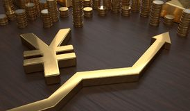 Golden Yen symbol and arrow up. 3D rendered illustration.  Stock Photography