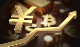 Golden Yen symbol and arrow up. 3D rendered illustration.  Stock Photos