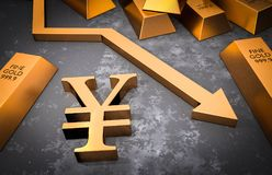 Golden yen symbol and golden arrow down Stock Image