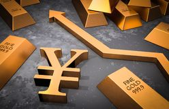 Golden yen symbol and golden arrow up Stock Photo