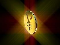 Golden yen symbol Stock Photography