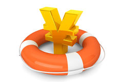 Golden Yen symbol in Life Buoy Stock Photos