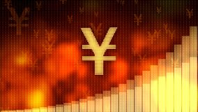 Golden yen symbol on red background, rising graph, financial crisis averted. Stock footage Royalty Free Stock Photo