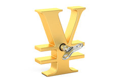 Golden Yen symbol with wind-up key, 3D rendering Stock Photography