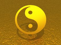Golden yin and yang symbol 01. 3D symbol on golden texture royalty free illustration
