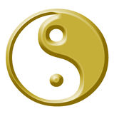 Golden yin and yang tao Stock Photo