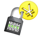 Golden Yuan coin caught in security closed padlock isolated vector Stock Photo
