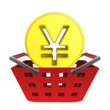 Golden yuan or yen coin in red basket vector Royalty Free Stock Images