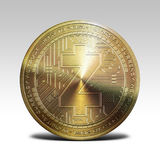Golden z-cash zcash coin isolated on white background 3d rendering. Illustration Royalty Free Stock Photos