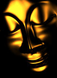 Golden zen buddha in the dark 02 Stock Images