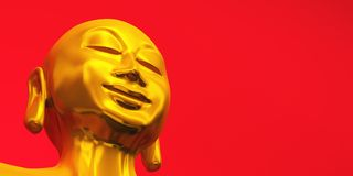 Golden zen buddha face on red 03 Stock Images