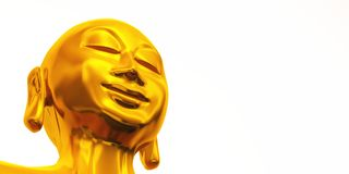 Golden zen buddha face on white Royalty Free Stock Image