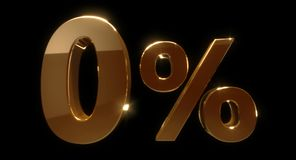 Golden zero percent or 0 % isolated over black background. 3D rendering Stock Photography