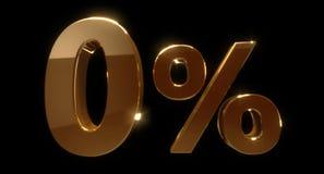 Golden zero percent or 0 % isolated over black background. 3D rendering vector illustration