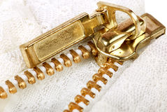 Golden zip Royalty Free Stock Photo