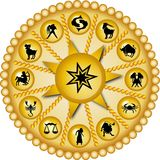 Golden zodiac disc. Illustration of a golden zodiac disc royalty free illustration