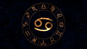 Golden zodiac horoscope spinnig wheel with Canser Crab sign in center. Golden zodiac horoscope loop spinnig wheel with Canser Crab sign in center on night sky stock footage