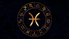 Golden zodiac horoscope spinnig wheel with Gemini Twins sign in center