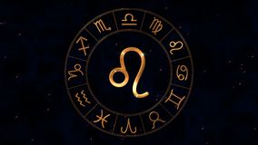 Golden zodiac horoscope spinnig wheel with Leo Lion sign in center