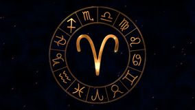 Golden zodiac horoscope spinnig wheel with Aries Ram sign in center
