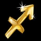 Golden zodiac sign Sagittarius on black background. Golden figure of zodiac sign Sagittarius on black background. Vector illustratioin, signs of zodiac series Stock Photography