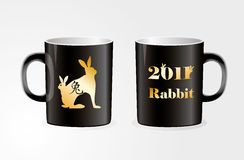 Golden zodiac symbol of the rabbit of the year Stock Images