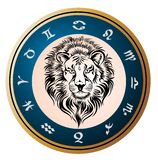 Golden Zodiac Wheel with sign of Leo Stock Photo