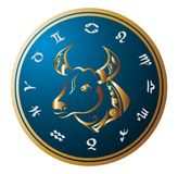 Golden Zodiac Wheel with sign of Taurus Stock Images