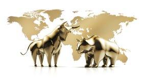 GoldenBull y oso - mercado de acción del concepto libre illustration