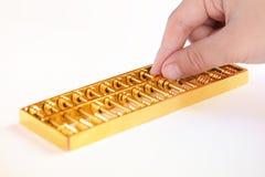 Goldene Abakusnahaufnahme Lizenzfreies Stockbild