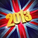 Goldene Abbildungen Jahr 2013 über dem Glänzen der BRITISCHEN Flagge Stockfotografie