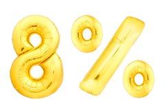 Goldene acht Prozent gemacht von den aufblasbaren Ballonen Stockfoto