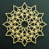 Goldene arabische Verzierung auf einem dunklen Hintergrund Östlicher islamischer Rahmen Auch im corel abgehobenen Betrag stock abbildung